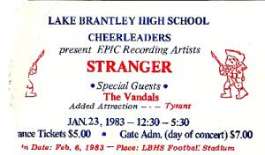 Stranger Ticket Stub 300x176 Stranger, live at Lake Brantley High School: January 23, 1983